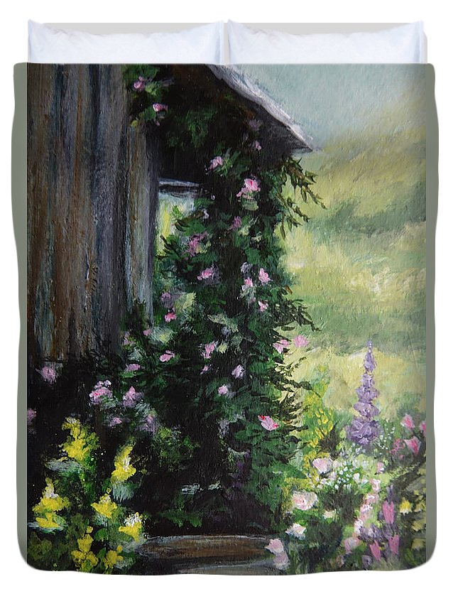 Flower Painting Duvet Cover featuring the painting Springtime At The Cabin by Elizabeth Waitinas