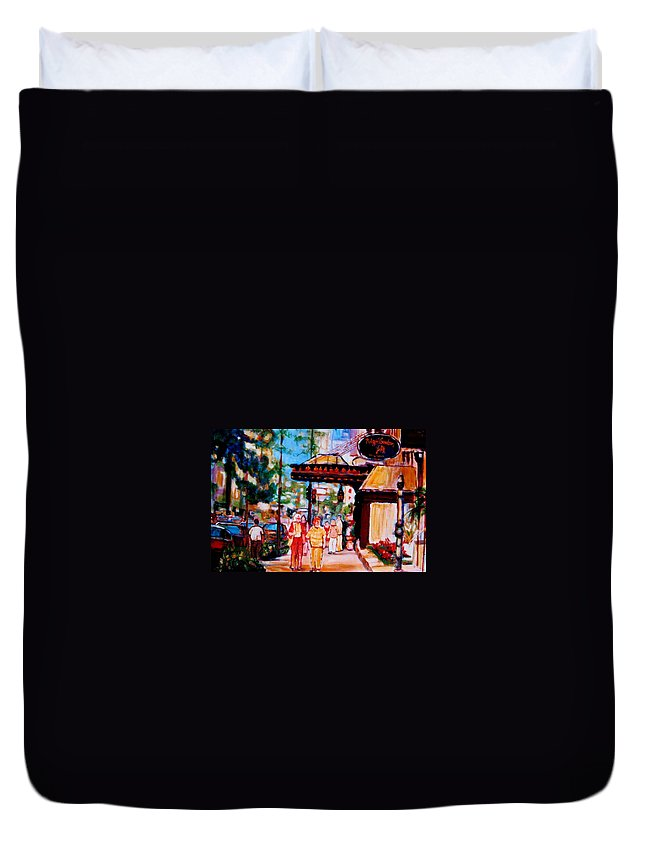 Montreal Streetscenes Duvet Cover featuring the painting Springtime At The Ritz by Carole Spandau