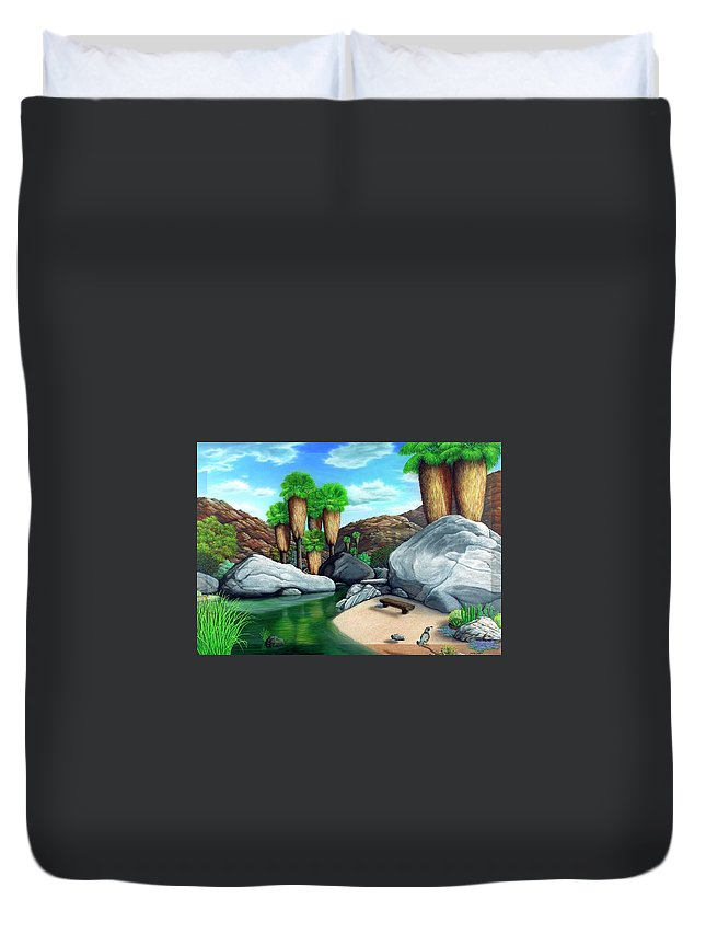 Landscape Duvet Cover featuring the painting Springtime In The Canyons by Snake Jagger