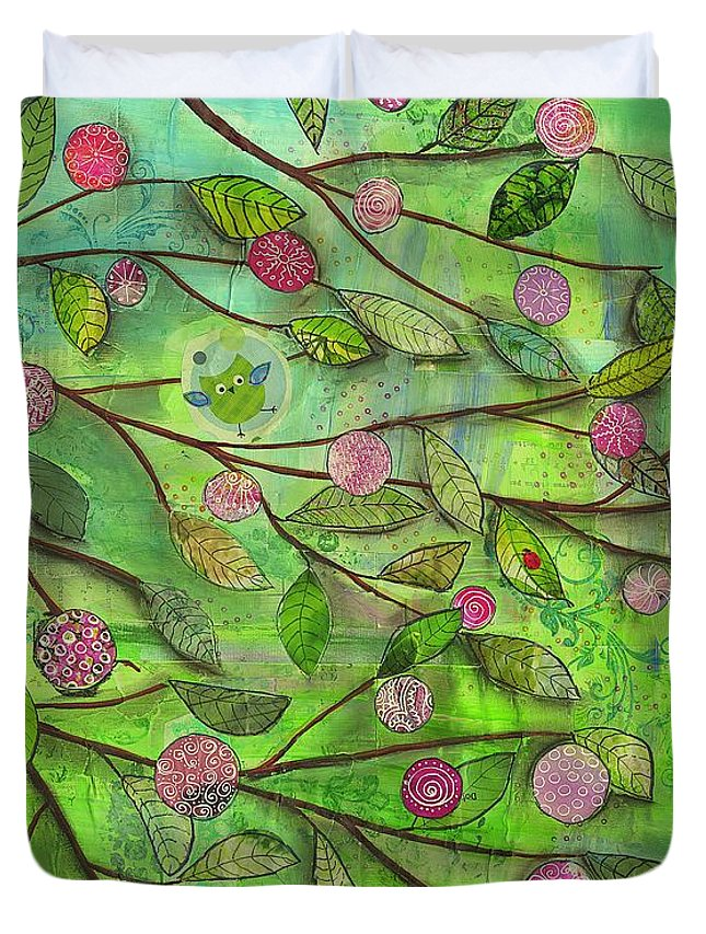 Tree Branch Leaf Leaves Fruit Circle Dot Bird Owl Fly Freedom Spring Happy Green Pink Vivid Duvet Cover featuring the mixed media Springtime by Kras Arts