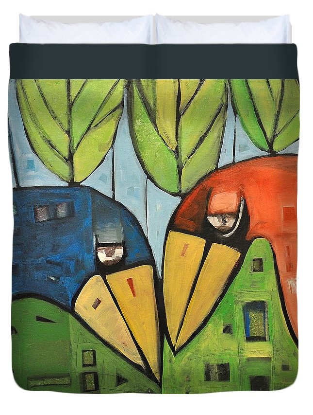 Birds Duvet Cover featuring the painting Springtime Lovebirds by Tim Nyberg