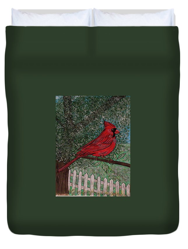 Springtime Duvet Cover featuring the painting Springtime Red Cardinal by Kathy Marrs Chandler