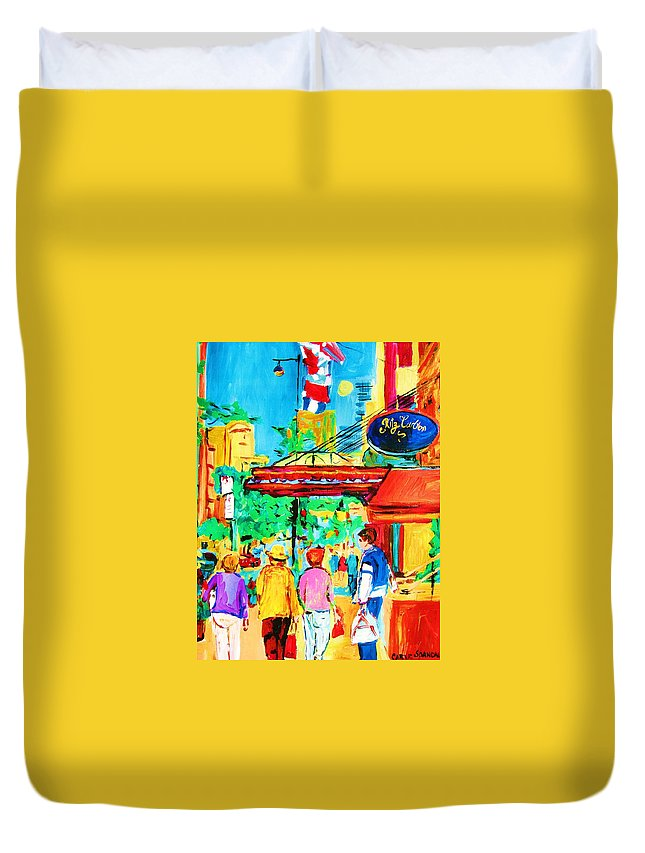 Paintings Of The Ritz Carlton On Sherbrooke Street Montreal Art Duvet Cover featuring the painting Springtime Stroll by Carole Spandau