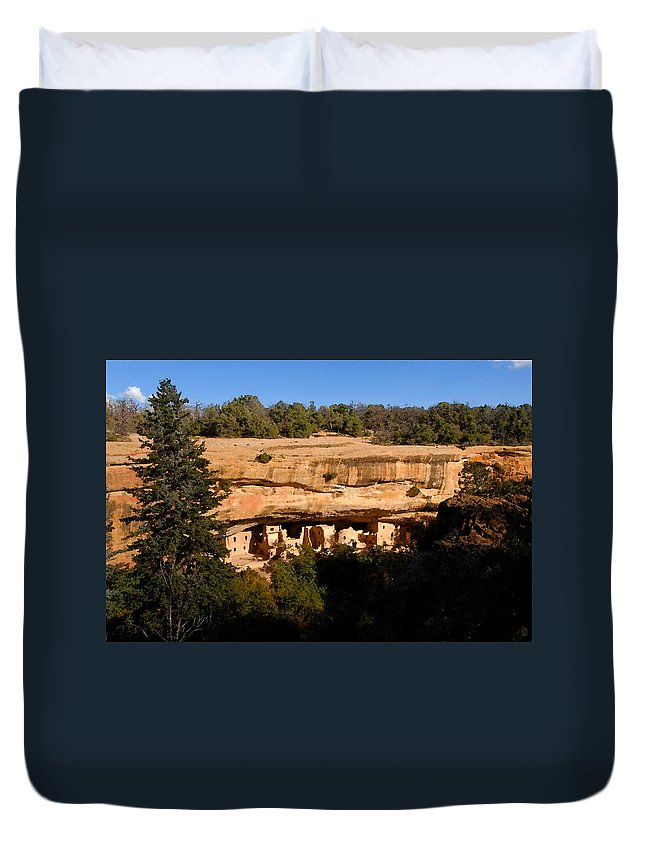 Art Duvet Cover featuring the painting Spruce Tree House by David Lee Thompson