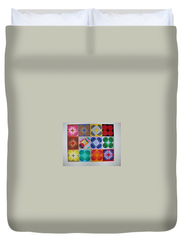 Multi Colored Circles On Squares Duvet Cover featuring the painting Square Dancing by Gay Dallek