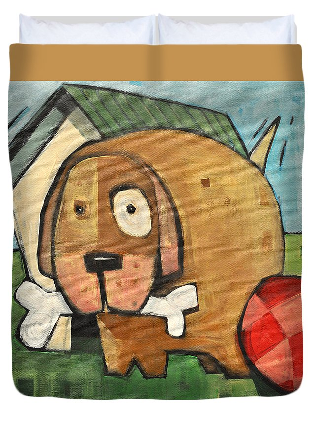 Dog Duvet Cover featuring the painting Square Dog by Tim Nyberg