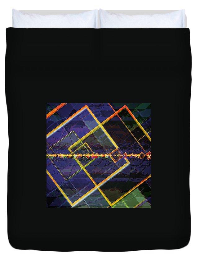 Art Duvet Cover featuring the digital art Square Fractals by Marko Sabotin