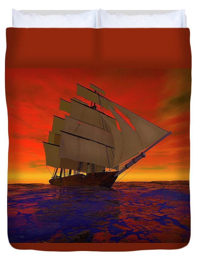 Adventure Duvet Cover featuring the digital art Square-rigged Ship At Sunset by Carol and Mike Werner