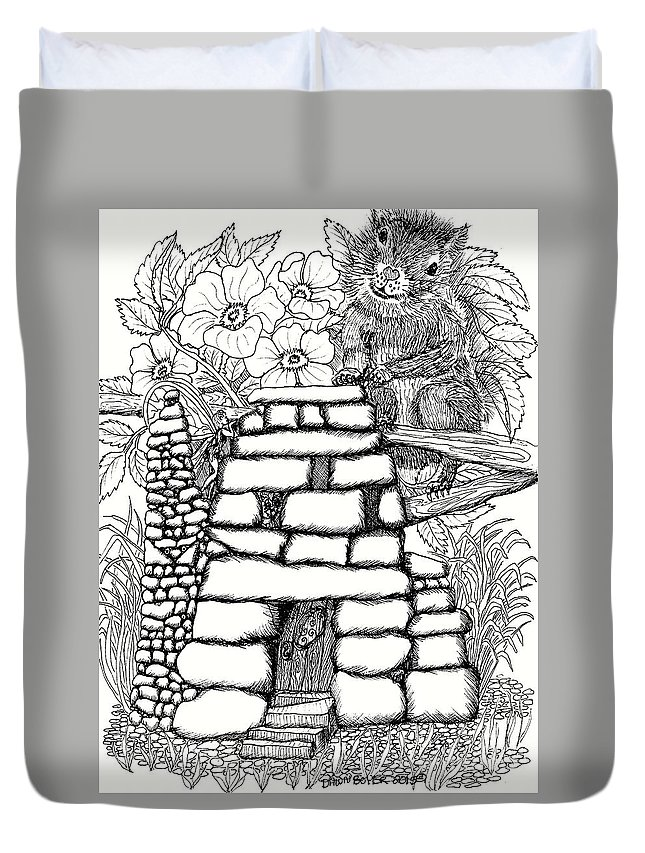 #dawndboyer Duvet Cover featuring the drawing Square Rock Fairy House And Squirrel by Dawn Boyer