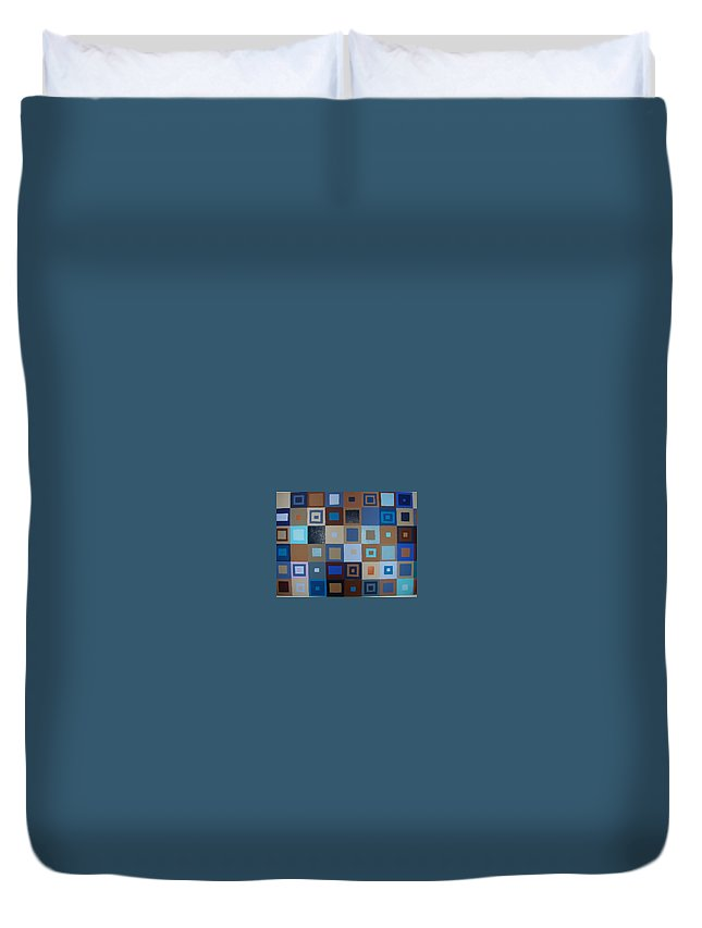 Shades Of Brown And Blue Squares Painting Duvet Cover featuring the painting Squares Have It by Gay Dallek