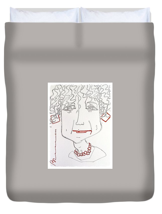 Squares Duvet Cover featuring the drawing Squaretangular by Barbara Chase
