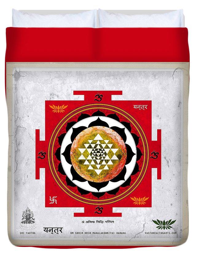 Sri Yantra Art Duvet Cover featuring the mixed media Sri Yantra Magic by Sandra Petra Pintaric