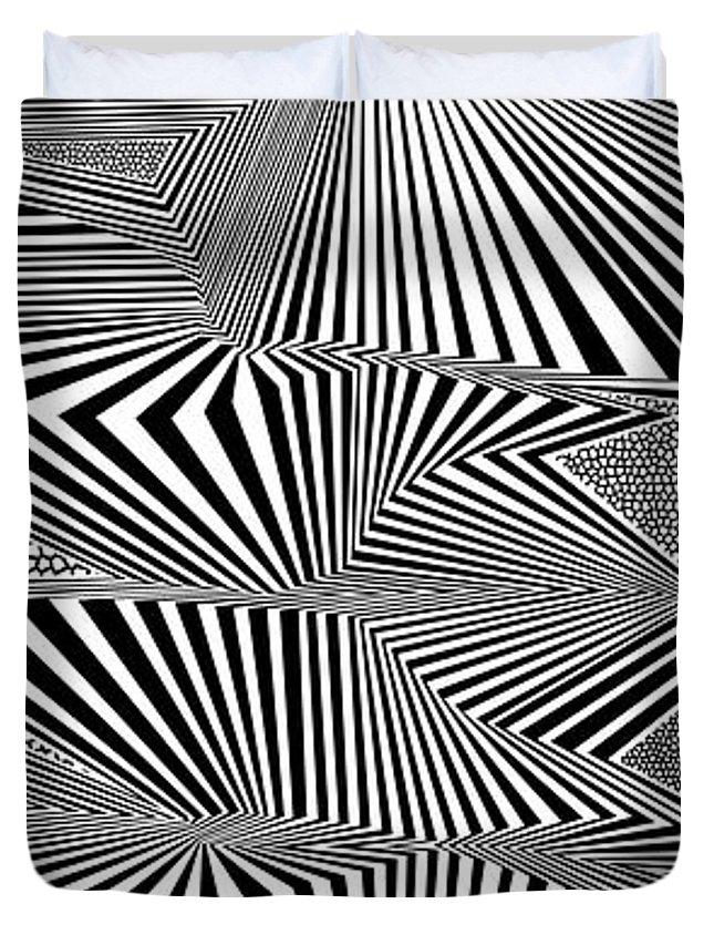 Dynamic Black And White Duvet Cover featuring the digital art Ssergorp by Douglas Christian Larsen