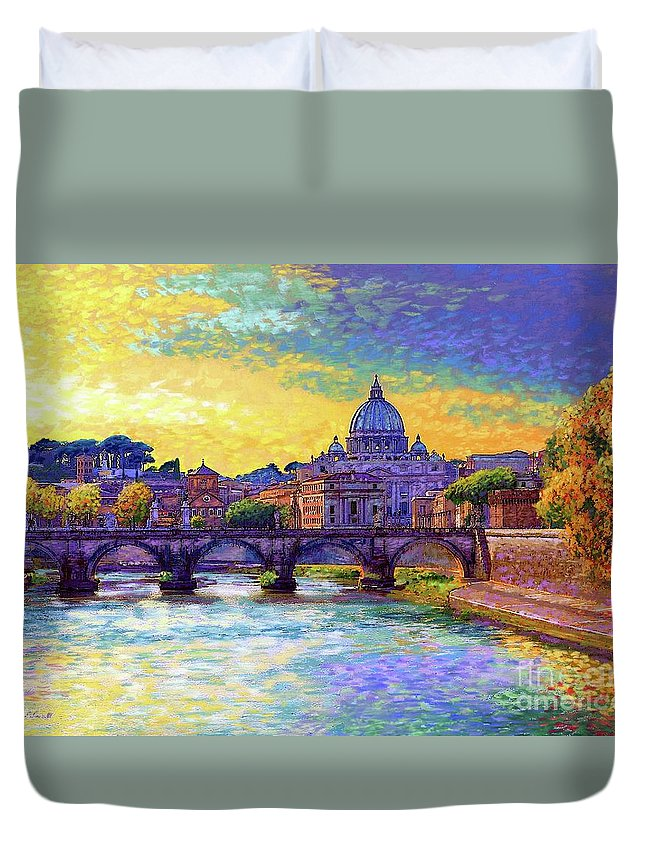 Italy Duvet Cover featuring the painting St Angelo Bridge Ponte St Angelo Rome by Jane Small