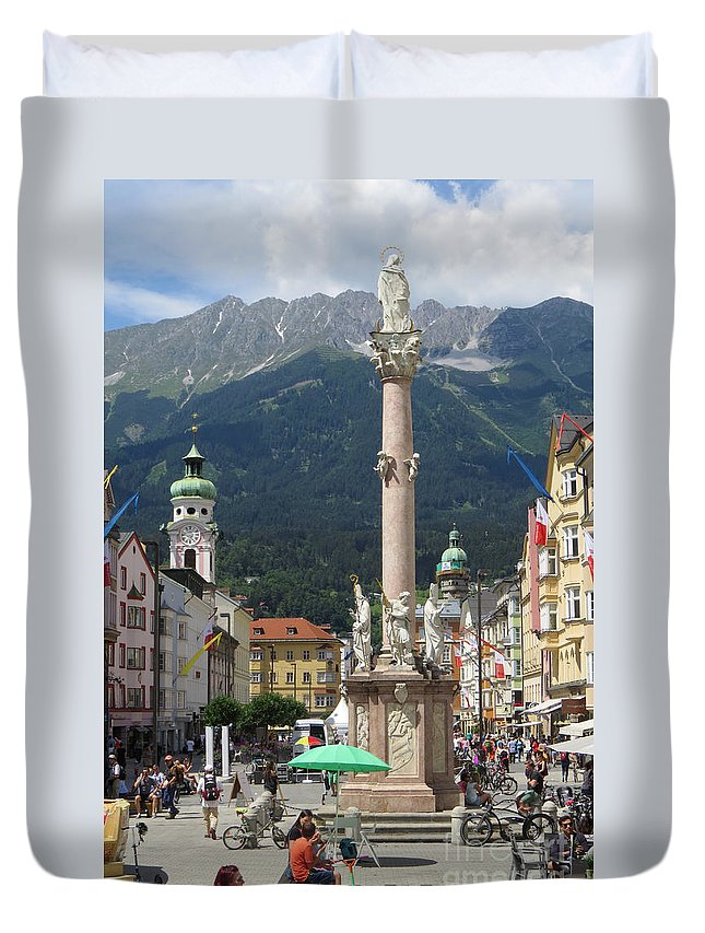Statue Duvet Cover featuring the photograph St. Anne's Column by Frank Townsley