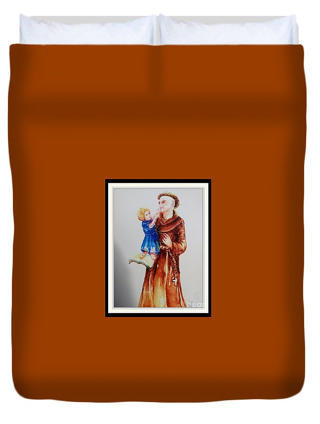 Duvet Cover featuring the painting St Anthony by Patricia Ducher