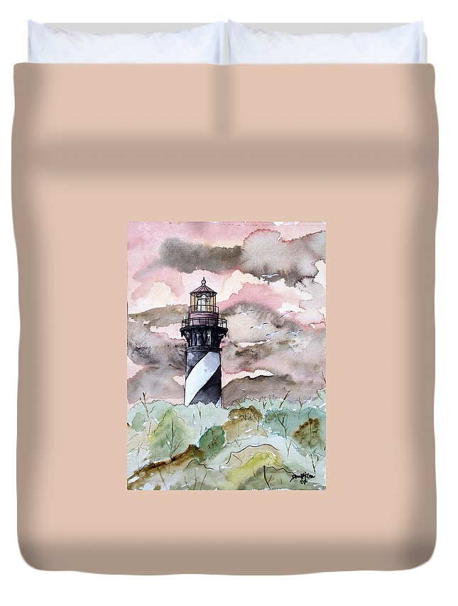 Lighthouse Duvet Cover featuring the painting St Augustine Lighthouse by Derek Mccrea