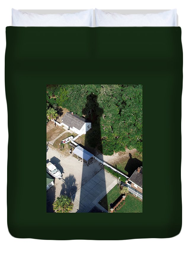 Florida Duvet Cover featuring the photograph St. Augustine Lighthouse Shadow by Bob Johnson