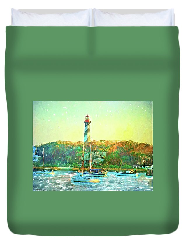 Alicegipsonphotographs Duvet Cover featuring the photograph St Augustine Lighthouse Waterscaped by Alice Gipson