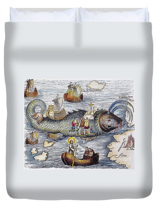 Aod Duvet Cover featuring the painting St. Brendan: Mass by Granger
