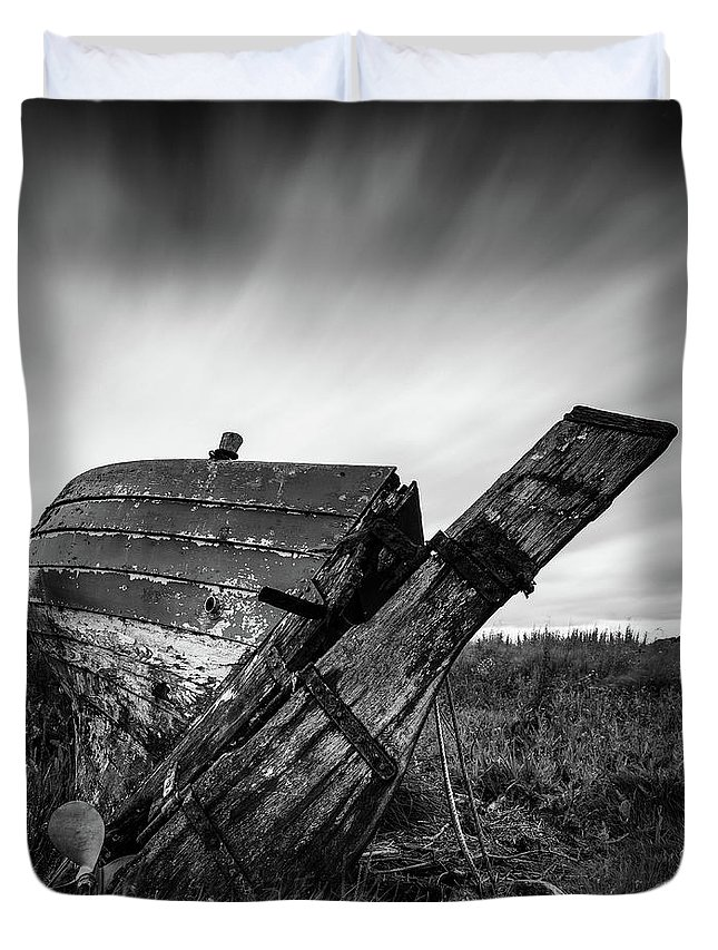 Fishing Boat Duvet Cover featuring the photograph St Cyrus Wreck by Dave Bowman