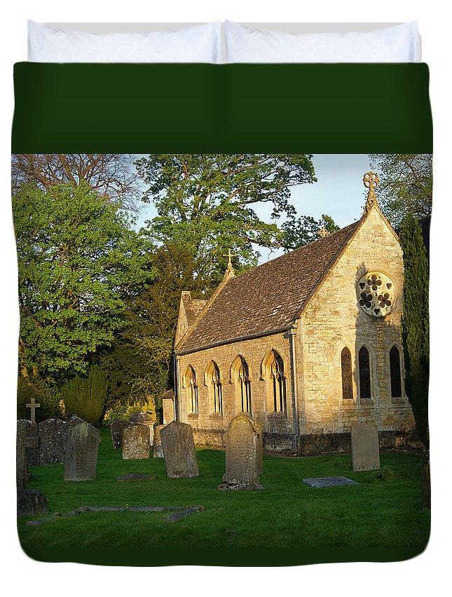 St Mary's Duvet Cover featuring the photograph St Davids Church Cemetary 1 by Douglas Barnett