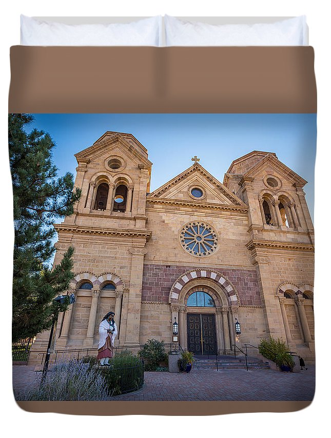 Temple Duvet Cover featuring the photograph St. Francis Cathedral #2 by Jon Manjeot