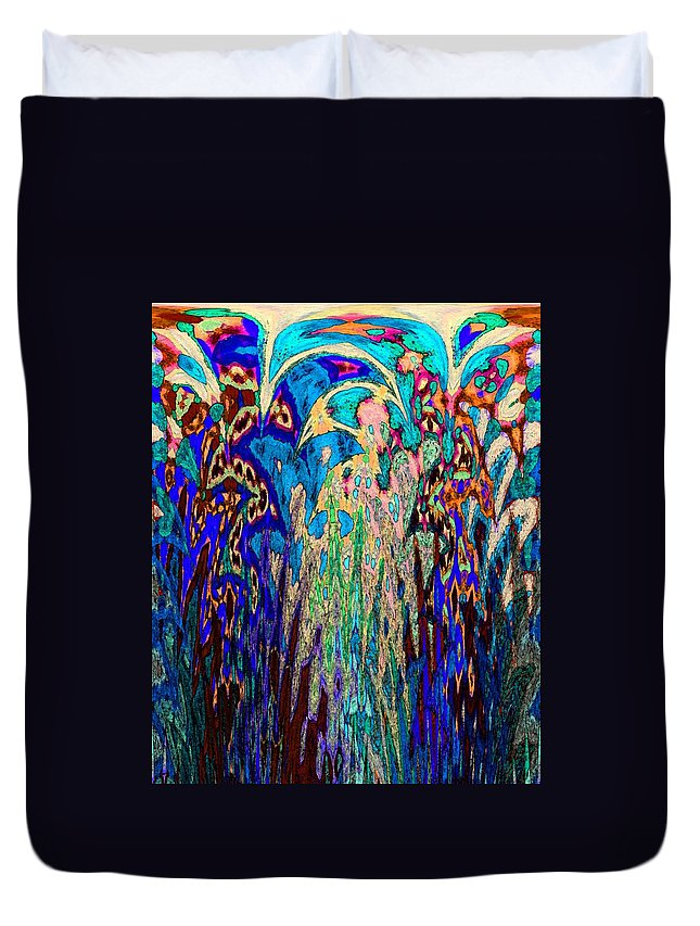 Abstract Duvet Cover featuring the digital art St Francis In The Garden by Lenore Senior