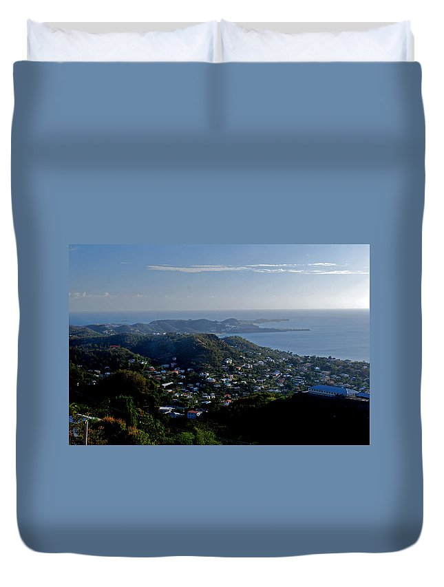 Sunset Duvet Cover featuring the photograph St. George's Grenada by Gary Wonning