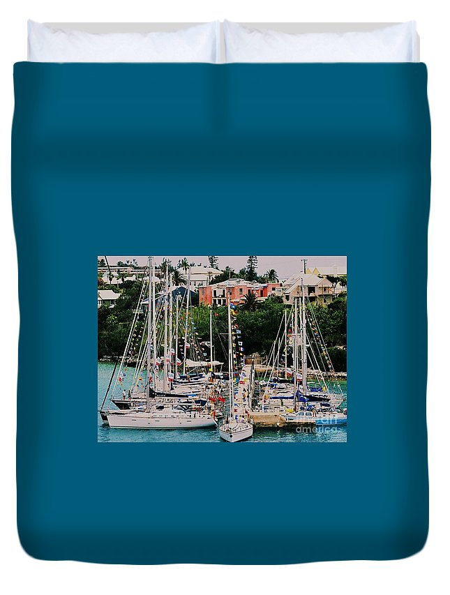 Bermuda Travel Yacht St. George's Nautical Film Flags Boat Pier Forest Of Masts Whimsical Destination Tourism Tranquil Buildings Hurricane Damage Architecture Symmetry Greenery Water Poster Print Metal Frame Canvas Print Greeting Cards Available On Throw Pillows Mugs Spiral Notebooks T Shirts Shower Curtains Pouches Phone Cases And Weekender Tote Bags Duvet Cover featuring the photograph St. George's Yacht Club Bermuda by Poet's Eye