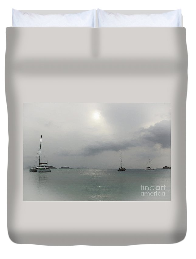 St John Duvet Cover featuring the photograph St John - Boats In The Mist by Stefan H Unger
