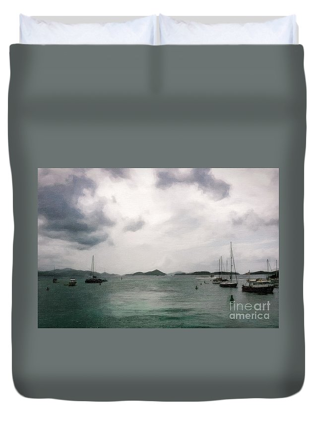 St Thomas Duvet Cover featuring the photograph St John - Boats Islands Clouds by Stefan H Unger