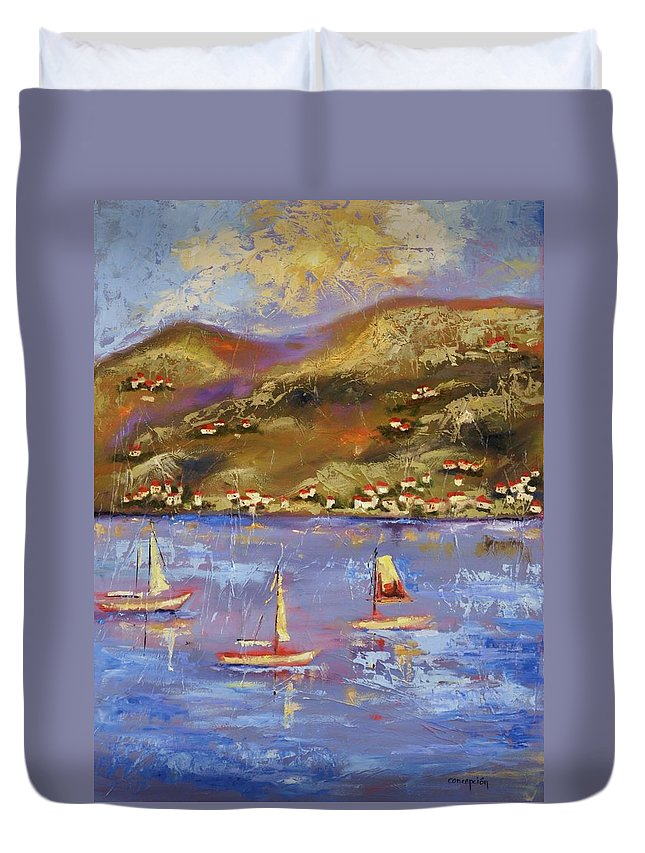 St. John Duvet Cover featuring the painting St. John Usvi by Ginger Concepcion