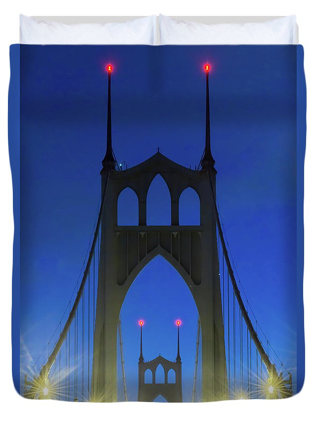 Blue Duvet Cover featuring the photograph St Johns Bridge by William Downs
