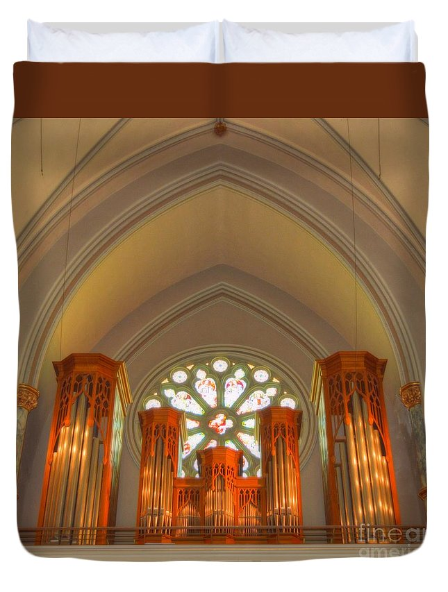 St. John's Cathedral Duvet Cover featuring the photograph St. John's Cathedral Organ by Linda Covino