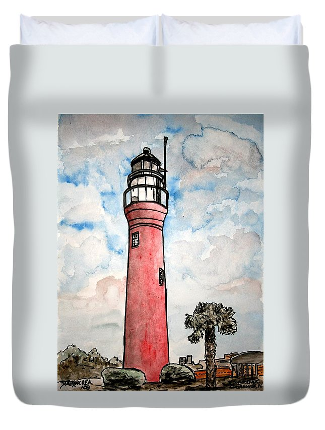 Lighthouse Duvet Cover featuring the painting St Johns River Lighthouse Florida by Derek Mccrea
