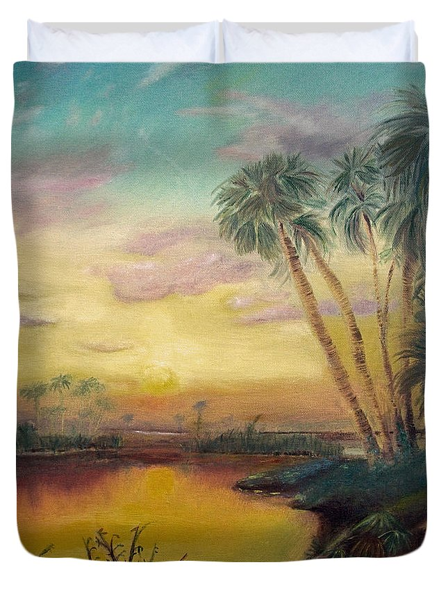 River Duvet Cover featuring the painting St. Johns Sunset by Dawn Harrell