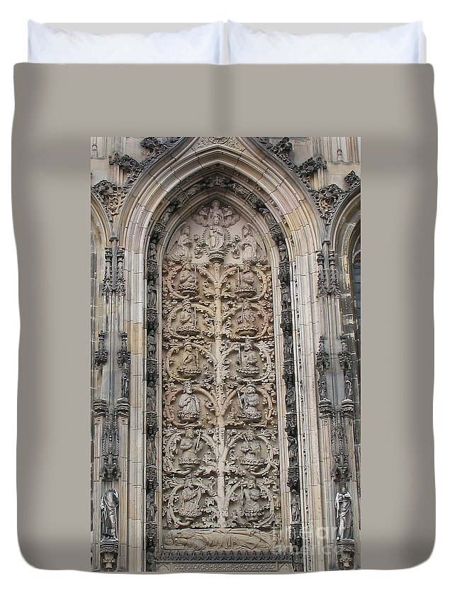 Stone Relief Duvet Cover featuring the photograph St. Lamberti Church - Stone Relief by Christiane Schulze Art And Photography