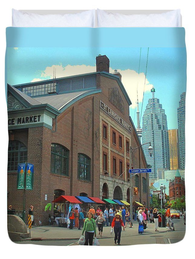 Market Duvet Cover featuring the photograph St Lawrence Market by Ian MacDonald