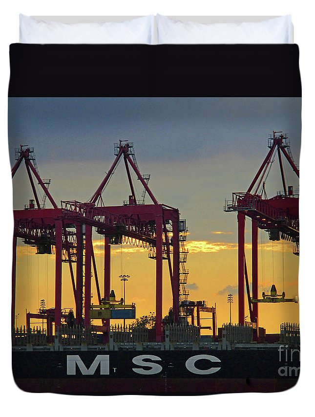 Montreal Duvet Cover featuring the photograph St Lawrence Sunset 2 by Randall Weidner