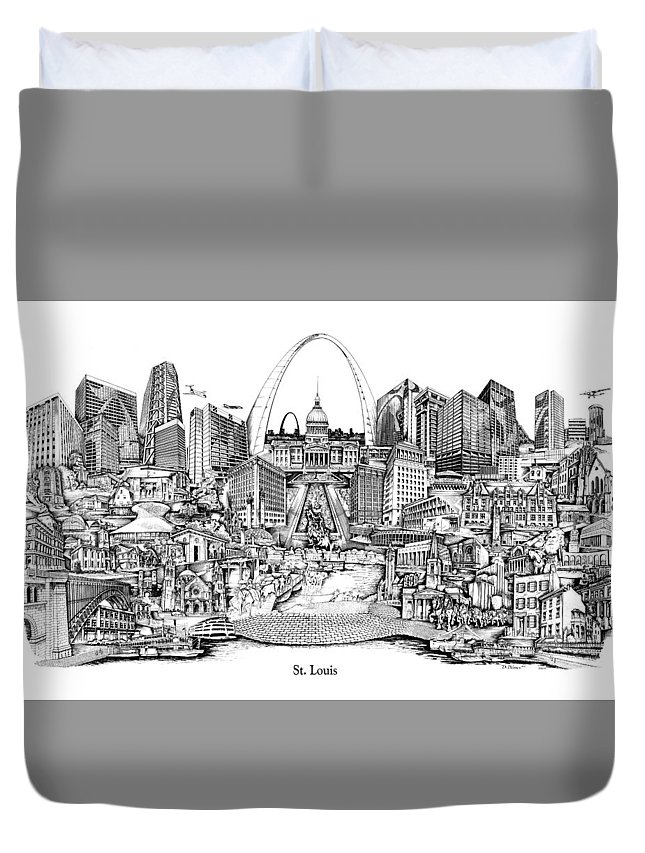 City Drawing Duvet Cover featuring the drawing St. Louis 4 by Dennis Bivens