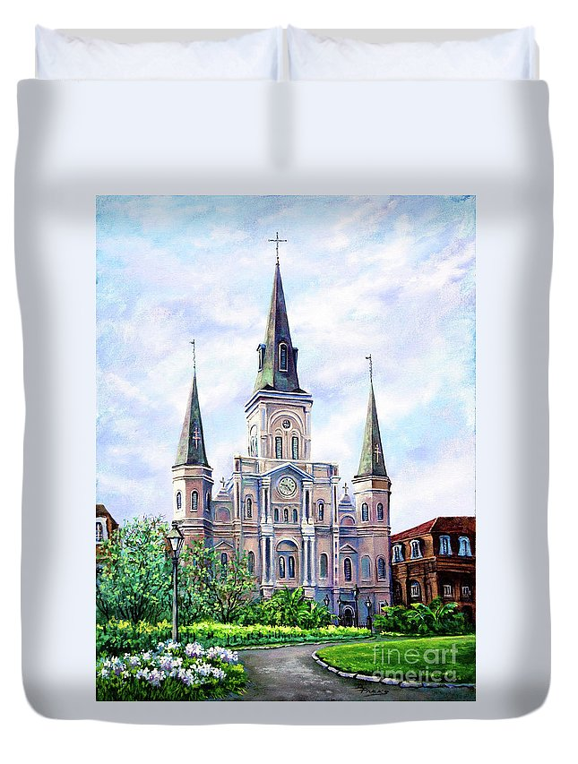 New Orleans Art Duvet Cover featuring the painting St. Louis Cathedral by Dianne Parks