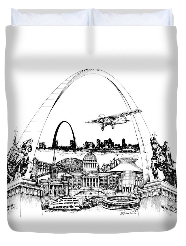 City Drawing Duvet Cover featuring the drawing St. Louis Highlights Version 1 by Dennis Bivens
