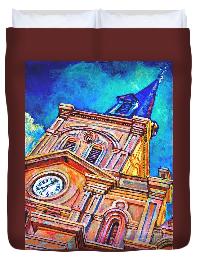 Acrylic Duvet Cover featuring the painting St Louis by Lisa Tygier Diamond