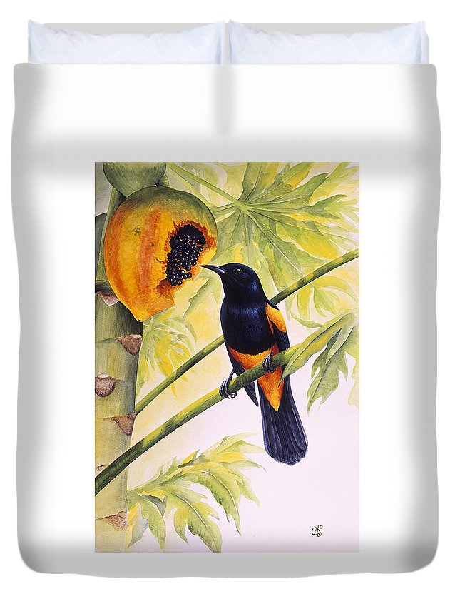 Chris Cox Duvet Cover featuring the painting St. Lucia Oriole And Papaya by Christopher Cox