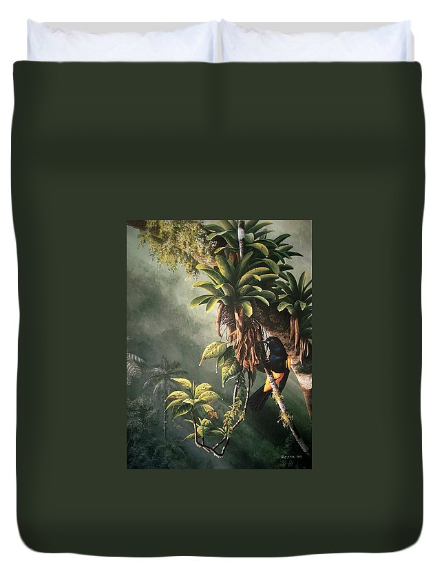 Chris Cox Duvet Cover featuring the painting St. Lucia Oriole In Bromeliads by Christopher Cox