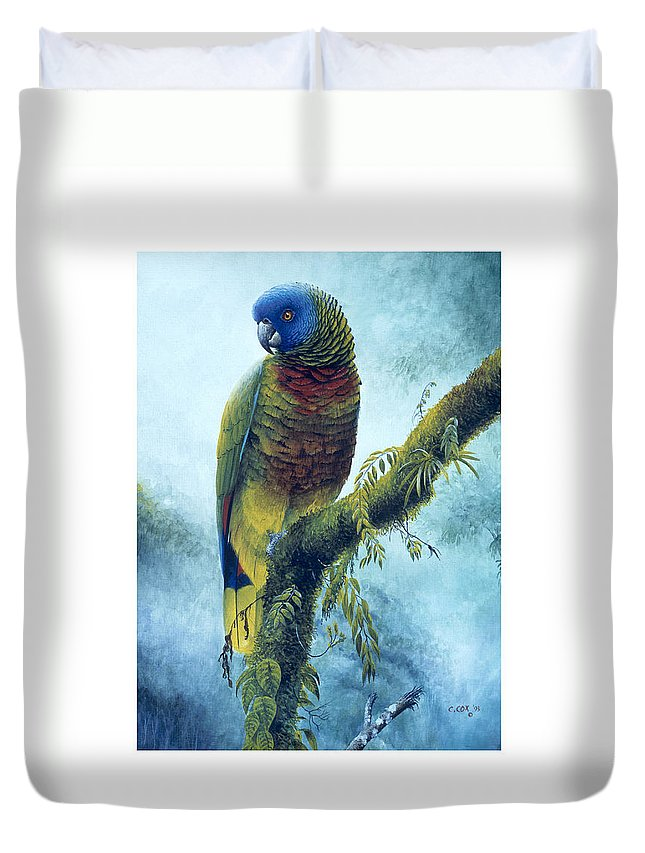 Chris Cox Duvet Cover featuring the painting St. Lucia Parrot - Majestic by Christopher Cox