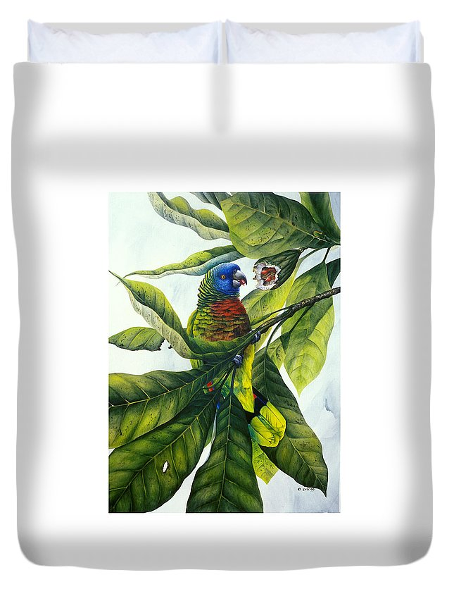 Chris Cox Duvet Cover featuring the painting St. Lucia parrot and fruit by Christopher Cox