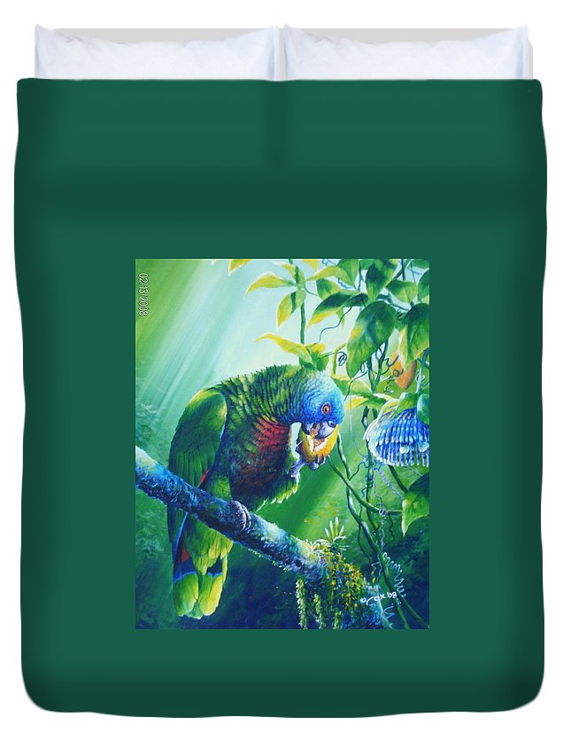 Chris Cox Duvet Cover featuring the painting St. Lucia Parrot And Wild Passionfruit by Christopher Cox