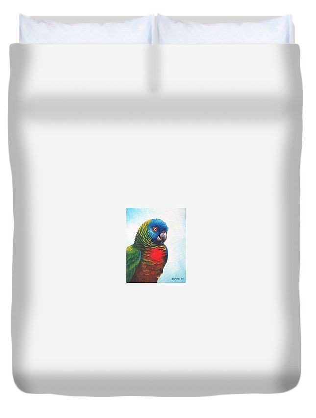 Chris Cox Duvet Cover featuring the painting St. Lucia Parrot by Christopher Cox